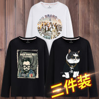 T-shirt Fashion City routine Male 165 / s male 170 / M male 175 / L male 180 / XL male 185 / 2XL male 3XL male 4XL male 5XL male 6xl Leku innovation Long sleeves Crew neck easy Other leisure Four seasons Cotton 100% Large size routine Basic public Cotton wool Autumn of 2019 character printing cotton