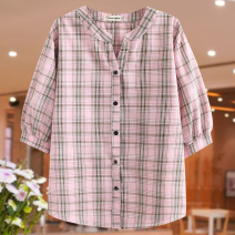 Middle aged and old women's wear Summer 2020 Yellow, Navy, pink 1XL recommended weight 120-140, 2XL recommended weight 140-160, 3XL recommended weight 160-180, 4XL recommended weight 180-200 leisure time shirt easy singleton  lattice 50-59 years old Cardigan moderate Cotton and hemp Short sleeve