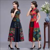 cheongsam Summer 2020 M,L,XL,XXL,XXXL,4XL,5XL,6XL Red suit, navy suit Short sleeve Short cheongsam ethnic style No slits daily Oblique lapel Decor Over 35 years old Piping cotton