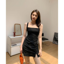 Dress Summer 2021 Classic black S,M,L Short skirt singleton  Sleeveless street square neck High waist Solid color Socket One pace skirt other camisole 25-29 years old Type H 31% (inclusive) - 50% (inclusive) nylon Europe and America