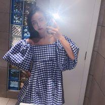 Dress Summer 2021 S, M Short skirt singleton  Short sleeve street One word collar High waist Zebra pattern Socket A-line skirt puff sleeve Others 25-29 years old Type A other