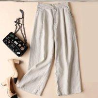 Casual pants U71 light khaki, A61 Dark Khaki, k80-d-white, N86 pink, o21-s-black, A28 color EC M,L,XL,2XL,3XL Spring 2020 Ninth pants Wide leg pants High waist commute Thin money 30-34 years old F26751 Other / other hemp hemp