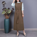 Dress Spring 2021 Black Matcha green blue grey coffee M L Mid length dress singleton  Long sleeves commute Crew neck Solid color Socket A-line skirt routine 40-49 years old Type A O'keeling Frenulum More than 95% other Other 100% Pure e-commerce (online only)
