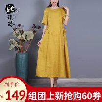 Dress Summer 2021 Yellow (pre-sale 3-5 days), purple (pre-sale 3-5 days), pink (pre-sale 3-5 days), blue (pre-sale 3-5 days), orange (pre-sale 3-5 days) M L Mid length dress singleton  Short sleeve commute Crew neck Loose waist Solid color Socket A-line skirt routine 40-49 years old Type A O'keeling