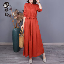 Dress Spring 2021 Purple green blue yellow orange red brown M L Mid length dress Long sleeves commute stand collar Loose waist Solid color Socket A-line skirt routine 40-49 years old O'keeling literature pocket More than 95% other Other 100% Pure e-commerce (online only)