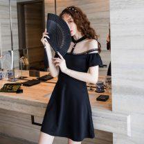 Dress Summer 2021 black S,M,L,XL Short skirt singleton  Short sleeve commute other High waist 18-24 years old