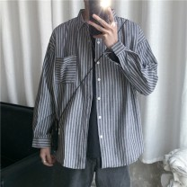 shirt Fashion City myfangshao M,L,XL,2XL Gray, white, blue routine square neck Long sleeves easy daily spring youth Cotton 100% like a breath of fresh air 2021 stripe No iron treatment cotton Soft Gloss