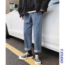 Jeans Youth fashion myfangshao S,M,L,XL routine No bullet Regular denim Ninth pants Other leisure Four seasons teenagers Medium low back Loose straight tube tide 2021 Straight foot zipper