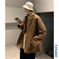 man 's suit Brown Others Youth fashion routine M,L,XL easy Double breasted Other leisure No slits teenagers Long sleeves spring routine tide Casual clothes Flat lapel Straight hem Solid color Narrow collar (below 7cm) No iron treatment Multiple pockets