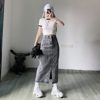 skirt Spring 2021 S,M,L,XL grey longuette Versatile High waist A-line skirt Decor Type A 18-24 years old More than 95% other other