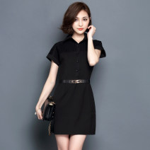Dress Summer 2021 White, black S,M,L,XL,2XL Middle-skirt singleton  Short sleeve commute Polo collar middle-waisted Solid color Socket A-line skirt Sleeve Others Type A Ol style Button, lace