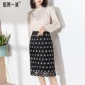 skirt Spring 2021 9/S,11/M,13/L,15/XL,17/XXL Black dots Short skirt grace High waist skirt Dot Type H 30-34 years old Q2111267 Lace Ming Hong clan