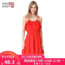 Dress Spring of 2018 gules S M L XL XXL Short skirt singleton  Sleeveless Sweet High waist Solid color camisole 18-24 years old Haoduoyi Lace up More than 95% polyester fiber Polyester 96% polyurethane elastic fiber (spandex) 4% Ruili Pure e-commerce (online only)
