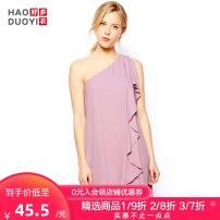 Dress Spring of 2018 lilac colour XS S M L XL Short skirt singleton  Sleeveless Sweet Solid color 18-24 years old Haoduoyi Lotus leaf edge 8S153515904 More than 95% polyester fiber Polyester 95% polyurethane elastic fiber (spandex) 5% Ruili Pure e-commerce (online only)