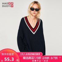 sweater Spring of 2018 S M L XL navy blue Long sleeves Socket singleton  Regular acrylic fibres 95% and above V-neck street 18-24 years old Haoduoyi M62Q80072 Polyacrylonitrile fiber (acrylic fiber) 100% Pure e-commerce (online only)