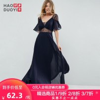 Dress Fall 2017 navy blue S M L XL XXL longuette singleton  Short sleeve street V-neck High waist Solid color Big swing 25-29 years old Haoduoyi Patchwork lace More than 95% polyester fiber Polyester 100% Pure e-commerce (online only) Europe and America
