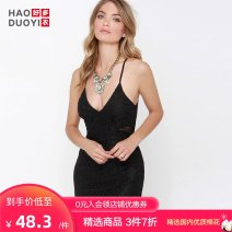 Dress Spring of 2018 black S M L XL XXL Short skirt singleton  Sleeveless street V-neck High waist Solid color One pace skirt 25-29 years old Haoduoyi Cut out zipper lace More than 95% polyester fiber Polyester 100% Pure e-commerce (online only) Europe and America