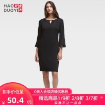 Dress Autumn of 2018 black S M L XL XXL Middle-skirt singleton  three quarter sleeve commute Crew neck Solid color pagoda sleeve 25-29 years old Haoduoyi Simplicity Hollow zipper B52R70340 More than 95% polyester fiber Polyester 96% polyurethane elastic fiber (spandex) 4%