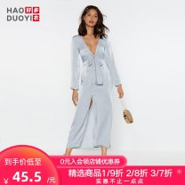 Dress Summer of 2019 blue S M L XL XXL longuette singleton  Long sleeves street V-neck High waist Solid color Socket Irregular skirt other Others 18-24 years old Type X Haoduoyi Solid color XK53S60096 More than 95% polyester fiber Polyester 100% Pure e-commerce (online only) Europe and America