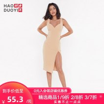 Dress Autumn of 2019 Beige S M L Middle-skirt singleton  Sleeveless commute other middle-waisted Solid color One pace skirt other straps 18-24 years old Type X Haoduoyi Simplicity Split KC52S80086 81% (inclusive) - 90% (inclusive) polyester fiber Pure e-commerce (online only)
