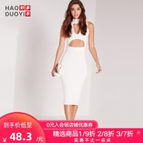 Dress Summer of 2018 white S M L XL XXL Mid length dress singleton  Sleeveless street High waist Solid color 25-29 years old Haoduoyi Hollowing out 91% (inclusive) - 95% (inclusive) polyester fiber Polyester 92% polyurethane elastic fiber (spandex) 8% Pure e-commerce (online only) Europe and America