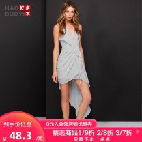 Dress Spring of 2018 Grey white XS S M L XL XXL Mid length dress singleton  Sleeveless street V-neck High waist Solid color 25-29 years old Haoduoyi Asymmetric ruffles 815151B620 More than 95% polyester fiber Polyester 100% Pure e-commerce (online only) Europe and America