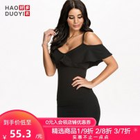 Dress Summer 2017 Black white pink XS S M L XL XXL Short skirt singleton  Short sleeve street V-neck High waist Solid color Socket One pace skirt Lotus leaf sleeve camisole 25-29 years old Haoduoyi Open back with lotus leaf More than 95% polyester fiber Pure e-commerce (online only)