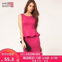 Dress Spring of 2019 Red XS S M L XL XXL Short skirt singleton  Sleeveless Sweet Crew neck High waist Solid color zipper Ruffle Skirt 18-24 years old Type X Haoduoyi Lotus leaf edge More than 95% polyester fiber Polyethylene terephthalate (PET) 95% polyurethane elastic fiber (spandex) 5% Ruili