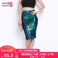 skirt Autumn of 2019 S M L XL XXL Peacock green sequins Middle-skirt street High waist skirt Solid color Type H 18-24 years old 15145B391 More than 95% Haoduoyi polyester fiber Sequin zipper Polyester 100% Pure e-commerce (online only) Europe and America