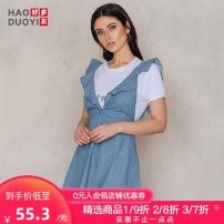 Dress Summer of 2018 blue S M L XL XXL Short skirt singleton  Sleeveless Sweet V-neck High waist Solid color A-line skirt 18-24 years old Haoduoyi Lotus leaf edge 81% (inclusive) - 90% (inclusive) cotton Cotton 90% viscose (viscose) 10% college Pure e-commerce (online only)