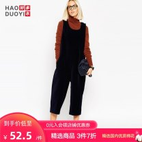 Casual pants navy blue XXL XS S M L XL Spring of 2018 Cropped Trousers rompers Natural waist street 18-24 years old Haoduoyi pocket Polyester 95% polyurethane elastic fiber (spandex) 5% Pure e-commerce (online only) Europe and America