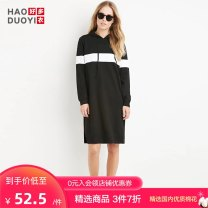 Dress Fall 2017 black S M L XL XXL Middle-skirt singleton  Long sleeves street Hood routine 18-24 years old Haoduoyi 51% (inclusive) - 70% (inclusive) polyester fiber Polyester fiber 60% cotton 35% polyurethane elastic fiber (spandex) 5% Pure e-commerce (online only) Europe and America
