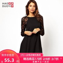 Dress Summer 2017 Black blue XS S M L XL XXL Short skirt singleton  Long sleeves street Crew neck Loose waist Solid color Socket other 18-24 years old Haoduoyi Patchwork lace More than 95% polyester fiber Polyester 96% polyurethane elastic fiber (spandex) 4% Pure e-commerce (online only)