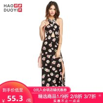 Dress Spring of 2019 Rose Print XS S M L XL XXL longuette singleton  Sleeveless Sweet V-neck Big flower A-line skirt 18-24 years old Type A Haoduoyi More than 95% polyester fiber Polyester 100% Bohemia Pure e-commerce (online only)