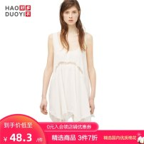 Dress Spring of 2018 white S M L XL XXL Short skirt singleton  Sleeveless commute Solid color 18-24 years old Haoduoyi Simplicity Asymmetry More than 95% other Viscose (viscose) 100% Pure e-commerce (online only)