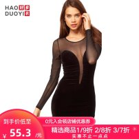 Dress Fall 2017 black XS S M L XL XXL Short skirt singleton  Long sleeves street Crew neck High waist Solid color Socket One pace skirt routine 25-29 years old Haoduoyi Perspective of stitching yarn net S132513412 More than 95% polyester fiber Polyester 95% polyurethane elastic fiber (spandex) 5%