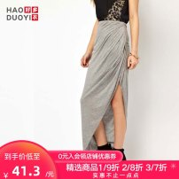 skirt Summer of 2019 XS XL Light grey longuette street High waist Irregular Solid color 18-24 years old 91% (inclusive) - 95% (inclusive) Haoduoyi Viscose fold Viscose fiber (viscose fiber) 95% polyurethane elastic fiber (spandex) 5% Pure e-commerce (online only) Europe and America