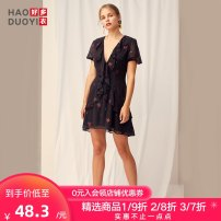 Dress Summer of 2019 Decor S M L XL XXL Short skirt singleton  Short sleeve street V-neck Broken flowers A-line skirt puff sleeve 18-24 years old Haoduoyi Ruffle printing A51S10005 More than 95% polyester fiber Polyester 100% Pure e-commerce (online only) Europe and America