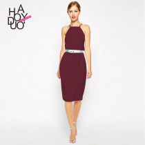 Dress Summer of 2018 violet SMLXLXXL Middle-skirt singleton  Sleeveless commute High waist Solid color One pace skirt camisole 25-29 years old Haoduoyi Ol style 8A53Q10H27 Polyester 97% polyurethane elastic fiber (spandex) 3% Pure e-commerce (online only)