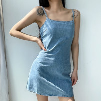 Dress Summer 2021 blue S,M,L Short skirt singleton  Sleeveless street Crew neck High waist Solid color Socket A-line skirt routine camisole 18-24 years old backless 31% (inclusive) - 50% (inclusive) other other Europe and America