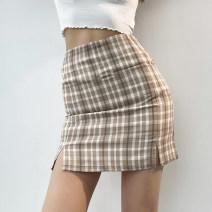 skirt Summer 2021 S,M,L Short skirt Versatile High waist skirt lattice 18-24 years old 81% (inclusive) - 90% (inclusive) other other