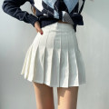 skirt Spring 2021 XS,S,M,L White, black Short skirt commute High waist Pleated skirt Solid color Type A 18-24 years old 81% (inclusive) - 90% (inclusive) polyester fiber fold