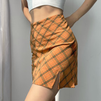 skirt Summer 2021 S,M,L Orange, pink Short skirt Versatile High waist skirt lattice Type A 18-24 years old 71% (inclusive) - 80% (inclusive) other other printing