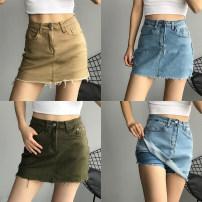 skirt Summer of 2019 XS,S,M,L,XL White, black, dark gray, light blue, army green, Dark Khaki Short skirt Versatile High waist skirt Solid color 51% (inclusive) - 70% (inclusive) Denim