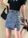 skirt Summer 2021 S,M,L,XL,2XL,3XL,4XL blue Short skirt commute High waist Denim skirt Solid color Type A 25-29 years old More than 95% Denim Buttons, pockets, zippers Korean version