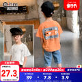 T-shirt Orange white Little elephant ham 110cm 120cm 130cm 140cm 150cm 160cm male summer Short sleeve Crew neck There are models in the real shooting nothing cotton Solid color Cotton 78.6% polyester 21.4% Y8218 Class B Summer 2021