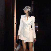 Dress Spring 2021 Black, white S,M,L Short skirt singleton  Long sleeves street tailored collar High waist Solid color Irregular skirt routine 18-24 years old Rigo tide KL211Q26003 51% (inclusive) - 70% (inclusive) polyester fiber