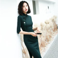 cheongsam Autumn of 2019 S M L XL XXL XXXL Medium and long dark green (green pendant for free) three quarter sleeve Short cheongsam ethnic style High slit daily Oblique lapel Solid color 25-35 years old Piping MGFG3533 Luxury · style other Other 100% Pure e-commerce (online only)