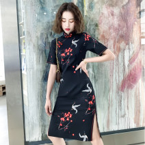 cheongsam Autumn of 2019 S M L XL XXL XXXL Black crane guards plum blossom medium long cheongsam black Koi medium long cheongsam black crane medium long cheongsam Short sleeve Short cheongsam ethnic style High slit daily Oblique lapel Decor 18-25 years old Piping MGFG3503 Luxury · style other