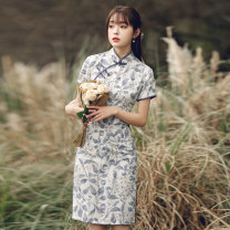 cheongsam Spring 2021 S M L XL XXL XXXL Short sleeve Short cheongsam Retro Low slit daily Oblique lapel Decor 18-25 years old Piping Luxury · style polyester fiber Polyester 100% Pure e-commerce (online only)